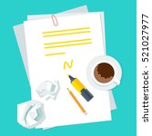 workplace writer notes on a... | Shutterstock .eps vector #521027977
