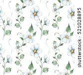 white flowers. watercolor...   Shutterstock . vector #521028895