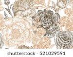 vintage flowers peonies ... | Shutterstock .eps vector #521029591