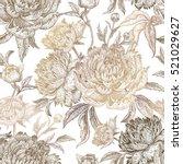 vintage flowers peonies ...   Shutterstock .eps vector #521029627