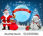 smiling snowman and santa... | Shutterstock .eps vector #521035081