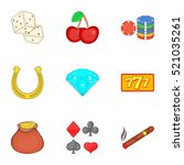 casino game icons set. cartoon... | Shutterstock . vector #521035261