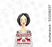 fashionable girl wearing... | Shutterstock . vector #521038237