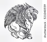 hand drawn vintage griffin ...