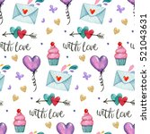 watercolor pattern with letters ... | Shutterstock . vector #521043631