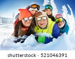 group of happy friends having... | Shutterstock . vector #521046391