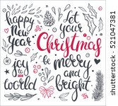 set of christmas clip art and... | Shutterstock .eps vector #521047381