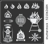 bbq and grill labels set.... | Shutterstock .eps vector #521062684