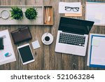 business desktop workspace with ... | Shutterstock . vector #521063284