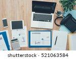 business desktop with laptop ... | Shutterstock . vector #521063584
