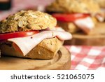 sandwich with ham  | Shutterstock . vector #521065075