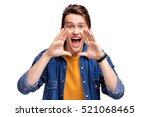 scream and shout  handsome... | Shutterstock . vector #521068465