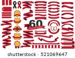 60 retro red ribbons and labels.... | Shutterstock .eps vector #521069647