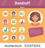 reasons of dandruff. vector.... | Shutterstock .eps vector #521073241