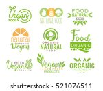 vegan natural food set of... | Shutterstock .eps vector #521076511
