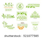 vegan natural food set of... | Shutterstock .eps vector #521077585