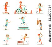 kids practicing different... | Shutterstock .eps vector #521077789