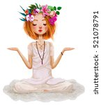 Cute Cartoon Girl In Yoga Lotus ...