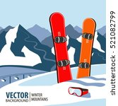 winter sport objects. two red... | Shutterstock .eps vector #521082799