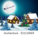 night christmas forest... | Shutterstock . vector #521110069