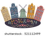 amsterdam. old historic... | Shutterstock .eps vector #521112499