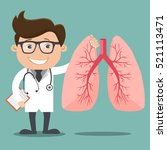doctor and lungs   vector... | Shutterstock .eps vector #521113471
