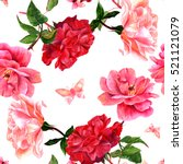 Stock photo a seamless pattern with watercolor drawings of blooming red and pink roses and butterflies hand 521121079