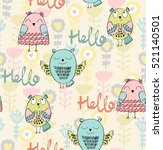 vector seamless pattern with... | Shutterstock .eps vector #521140501