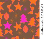 seamless pattern of christmas... | Shutterstock . vector #521141551