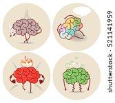 brain cartoon  various kinds of ... | Shutterstock .eps vector #521141959