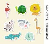Vector illustration of cute animal set including  cow, crocodile, giraffe,  lion, Tortoise and zebra