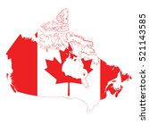 flag map of canada | Shutterstock .eps vector #521143585