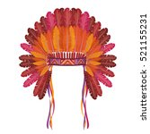 indian headdress with feathers... | Shutterstock .eps vector #521155231
