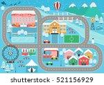 lovely snowy city landscape car ...   Shutterstock .eps vector #521156929