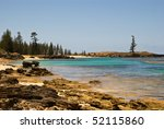 Small photo of The sparkling crystal waters of Slaughter bay and Emily Bay are lined with Norfolk pines near the old penal settlement of Kingston on Norfolk Island