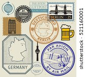 travel stamps or symbols set ... | Shutterstock .eps vector #521160001