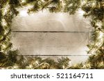 christmas and new year wooden... | Shutterstock . vector #521164711