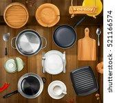 kitchen utensils. pots  pans ... | Shutterstock .eps vector #521166574
