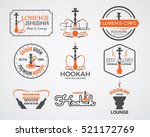 hookah labels  badges and... | Shutterstock . vector #521172769