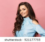 pretty stylish girl with long...   Shutterstock . vector #521177755