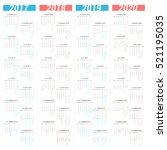 simple calendar for 4 years... | Shutterstock .eps vector #521195035