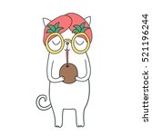 funny cute white cat drinking... | Shutterstock .eps vector #521196244