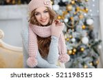 beautiful woman in warm... | Shutterstock . vector #521198515