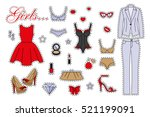 Stock vector fashion patch badges with women clothing lingerie business suit dress and other set of stickers 521199091