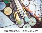 artist paint brushes on...   Shutterstock . vector #521211949