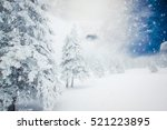 christmas background of snowy... | Shutterstock . vector #521223895