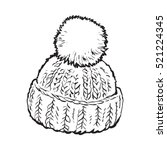 bright winter knitted hat with... | Shutterstock .eps vector #521224345