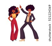 man and woman with afro hair... | Shutterstock .eps vector #521224369
