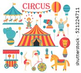 circus collection with carnival ... | Shutterstock .eps vector #521224711