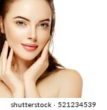 beautiful woman face close up... | Shutterstock . vector #521234539